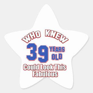 39 look fabulous star sticker
