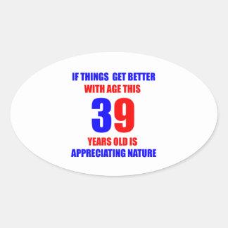 39.o Diseño del cumpleaños Pegatina Ovalada