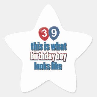 39.os diseños años del cumpleaños pegatina en forma de estrella