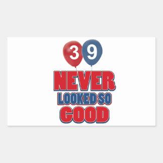 39.os diseños años del cumpleaños pegatina rectangular