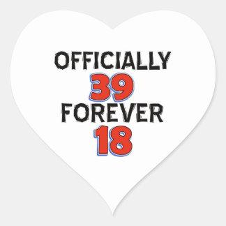 39.os diseños del cumpleaños pegatina en forma de corazón