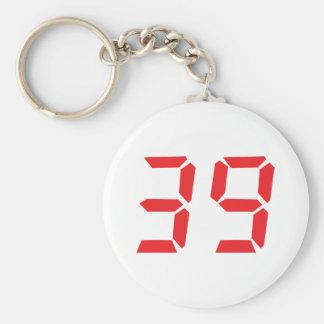 39 thirty-nine red alarm clock digital number basic round button keychain