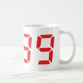 39 thirty-nine red alarm clock digital number coffee mug