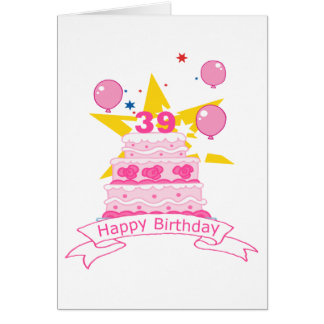 39 Year Old Birthday Cake Card