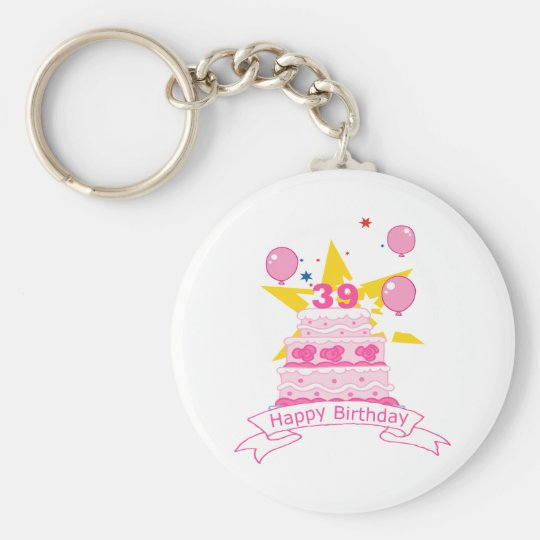 39 Year Old Birthday Cake Keychain