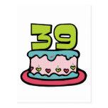 39 Year Old Birthday Cake Postcard