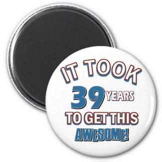39 year old birthday designs 2 inch round magnet