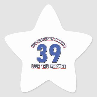 39 year old designs star sticker