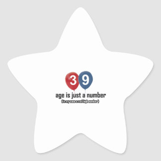 39 year old nothing but a number designs star sticker