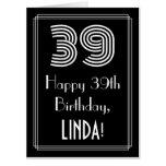 "[ Thumbnail: 39th Birthday — Art Deco Inspired Look ""39"" + Name Card ]"