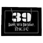 "[ Thumbnail: 39th Birthday ~ Art Deco Inspired Look ""39"" + Name Gift Bag ]"
