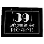 "[ Thumbnail: 39th Birthday: Art Deco Inspired Style ""39"", Name Gift Bag ]"