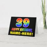 [ Thumbnail: 39th Birthday: Bold, Fun, Simple, Rainbow 39 Card ]