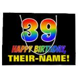 [ Thumbnail: 39th Birthday: Bold, Fun, Simple, Rainbow 39 Gift Bag ]