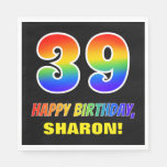 [ Thumbnail: 39th Birthday: Bold, Fun, Simple, Rainbow 39 Napkins ]