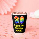 [ Thumbnail: 39th Birthday: Colorful, Fun, Exciting, Rainbow 39 ]