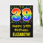 [ Thumbnail: 39th Birthday: Colorful Music Symbols + Rainbow 39 Card ]