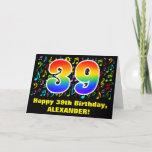 [ Thumbnail: 39th Birthday: Colorful Music Symbols & Rainbow 39 Card ]