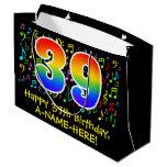 [ Thumbnail: 39th Birthday - Colorful Music Symbols, Rainbow 39 Gift Bag ]