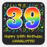 [ Thumbnail: 39th Birthday: Colorful Music Symbols, Rainbow 39 Sticker ]