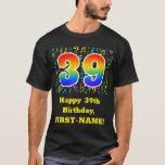 [ Thumbnail: 39th Birthday: Colorful Music Symbols, Rainbow 39 T-Shirt ]