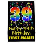 [ Thumbnail: 39th Birthday: Colorful Stars Pattern & Rainbow 39 Gift Bag ]