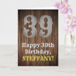 [ Thumbnail: 39th Birthday: Country Western Inspired Look, Name Card ]