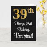 [ Thumbnail: 39th Birthday ~ Elegant Luxurious Faux Gold Look # Card ]