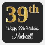 [ Thumbnail: 39th Birthday – Elegant Luxurious Faux Gold Look # Sticker ]