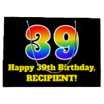 [ Thumbnail: 39th Birthday ~ Fun, Colorful, Vibrant, Rainbow 39 Gift Bag ]