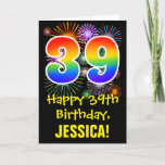 [ Thumbnail: 39th Birthday: Fun Fireworks Pattern + Rainbow 39 Card ]