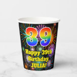 [ Thumbnail: 39th Birthday: Fun Fireworks Pattern + Rainbow 39 ]