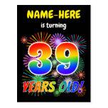 "[ Thumbnail: 39th Birthday - Fun Fireworks, Rainbow Look ""39"" Postcard ]"
