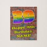 [ Thumbnail: 39th Birthday: Fun Graffiti-Inspired Rainbow 39 Jigsaw Puzzle ]