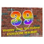 [ Thumbnail: 39th Birthday: Fun, Graffiti-Inspired Rainbow # 39 Gift Bag ]