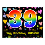 [ Thumbnail: 39th Birthday: Fun Hearts Pattern, Rainbow 39 Postcard ]