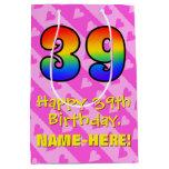[ Thumbnail: 39th Birthday: Fun Pink Hearts Stripes; Rainbow 39 Gift Bag ]