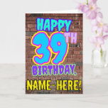 [ Thumbnail: 39th Birthday - Fun, Urban Graffiti Inspired Look Card ]