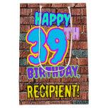 [ Thumbnail: 39th Birthday: Fun, Urban Graffiti Inspired Look Gift Bag ]