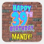 [ Thumbnail: 39th Birthday – Fun, Urban Graffiti Inspired Look Sticker ]
