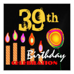 """39th Birthday Gold Candles and Balloon Metallic 5.25"""" Square Invitation Card"""