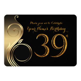 39th,Birthday Invitation,Number Glitter Gold,Photo Card
