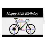 39th Birthday Motivational Bike Bicycle Cycling Greeting Card