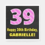 "[ Thumbnail: 39th Birthday: Pink Stripes and Hearts ""39"" + Name Napkins ]"