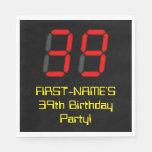 "[ Thumbnail: 39th Birthday: Red Digital Clock Style ""39"" + Name Napkins ]"