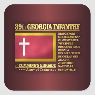 39th Georgia Infantry (BA2) Square Sticker