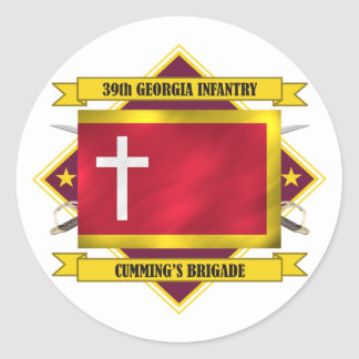 39th Georgia Infantry (Flags 3) Classic Round Sticker