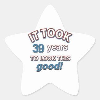 39th year birthday designs star sticker