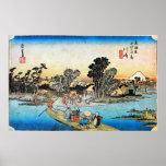 3. 川崎宿, 広重 Kawasaki-juku, Hiroshige, Ukiyo-e Poster