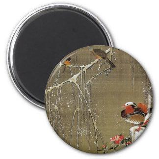 3. 雪中鴛鴦図, 若冲 Mandarin Duck in The Snow, Jakuchū 2 Inch Round Magnet